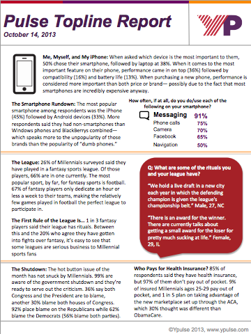 Topline 2013 10 14: ObamaCare, Phone Ownership & Use, Device Preferences, Fantasy Sports