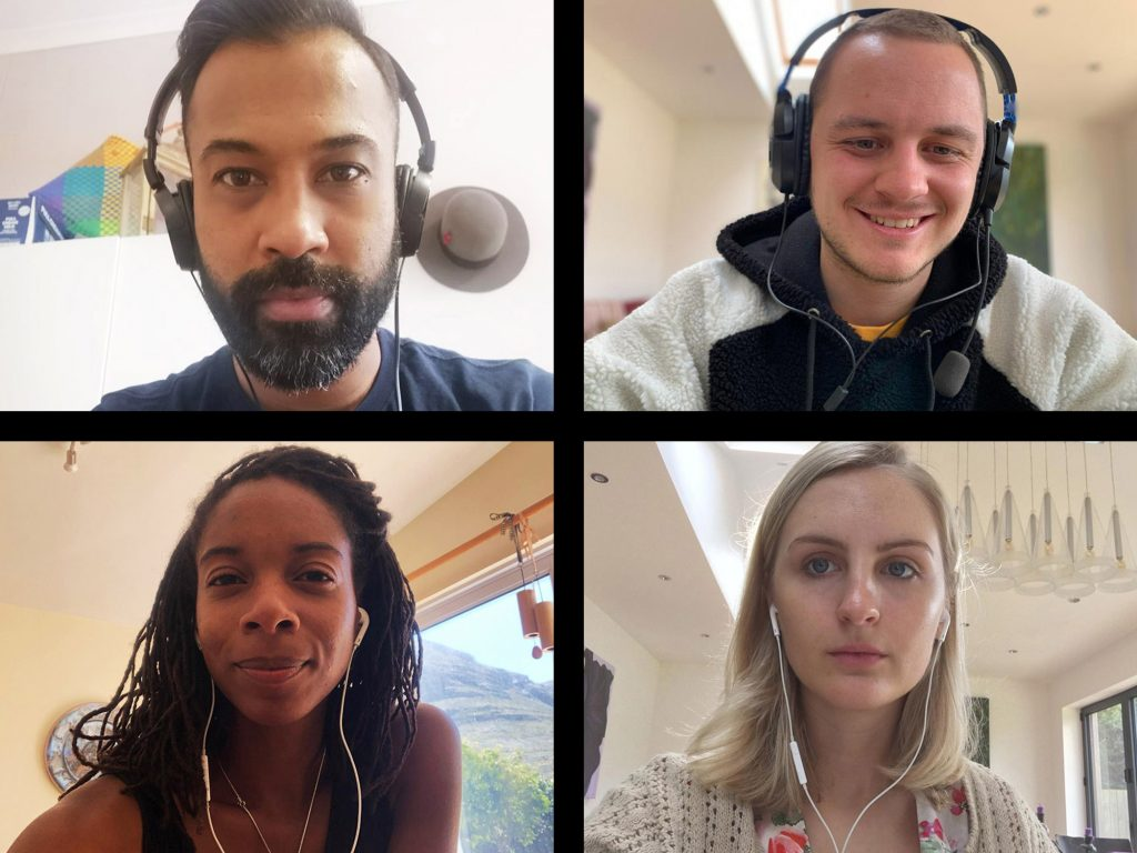 Screen of four friends connecting on video call